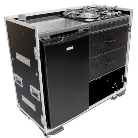 Custom Production Flight Case With Large Fridge + Gas Hob