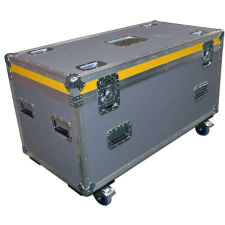 General Purpose Road Trunk Flightcase Grey With Yellow Trim Lid