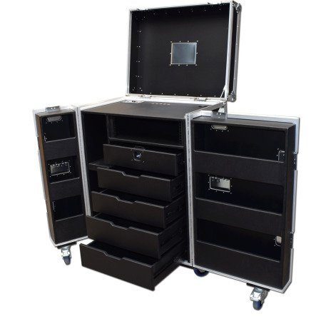 5 Drawer Backline Tool Flightcase With 3u Rack Space And Power