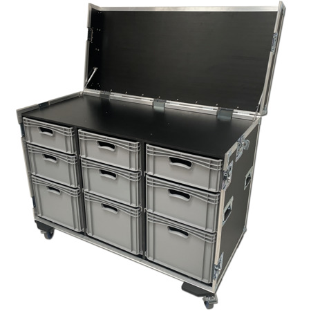 Large Production Flight Case With 9 Trays