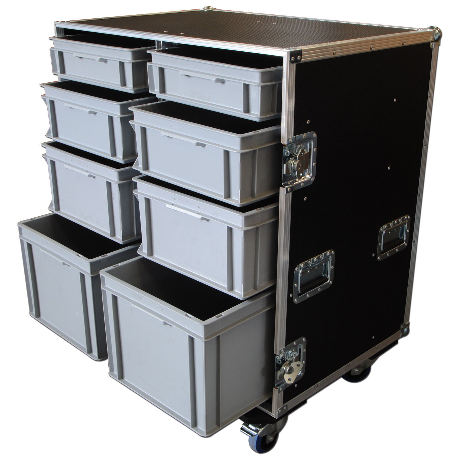 custom large production flight case with 8 trays. Black Bedroom Furniture Sets. Home Design Ideas